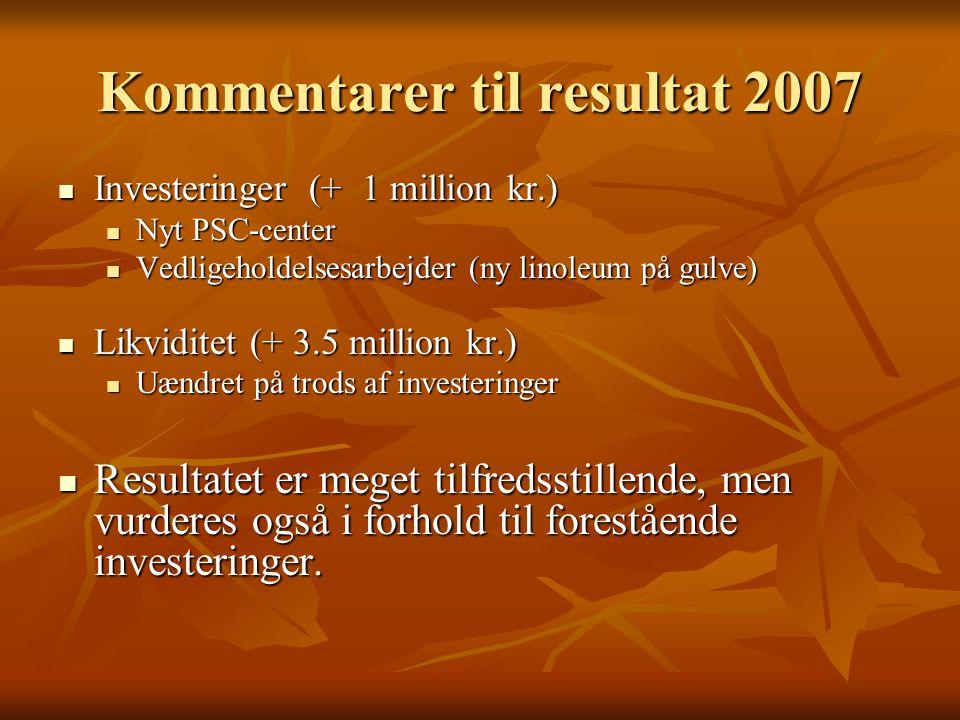 Kommentarer til resultat 2007 Investeringer (+ 1 million kr.) Investeringer (+ 1 million kr.) Nyt PSC-center Nyt PSC-center Vedligeholdelsesarbejder (ny linoleum på gulve) Vedligeholdelsesarbejder (ny linoleum på gulve) Likviditet (+ 3.5 million kr.) Likviditet (+ 3.5 million kr.) Uændret på trods af investeringer Uændret på trods af investeringer Resultatet er meget tilfredsstillende, men vurderes også i forhold til forestående investeringer.
