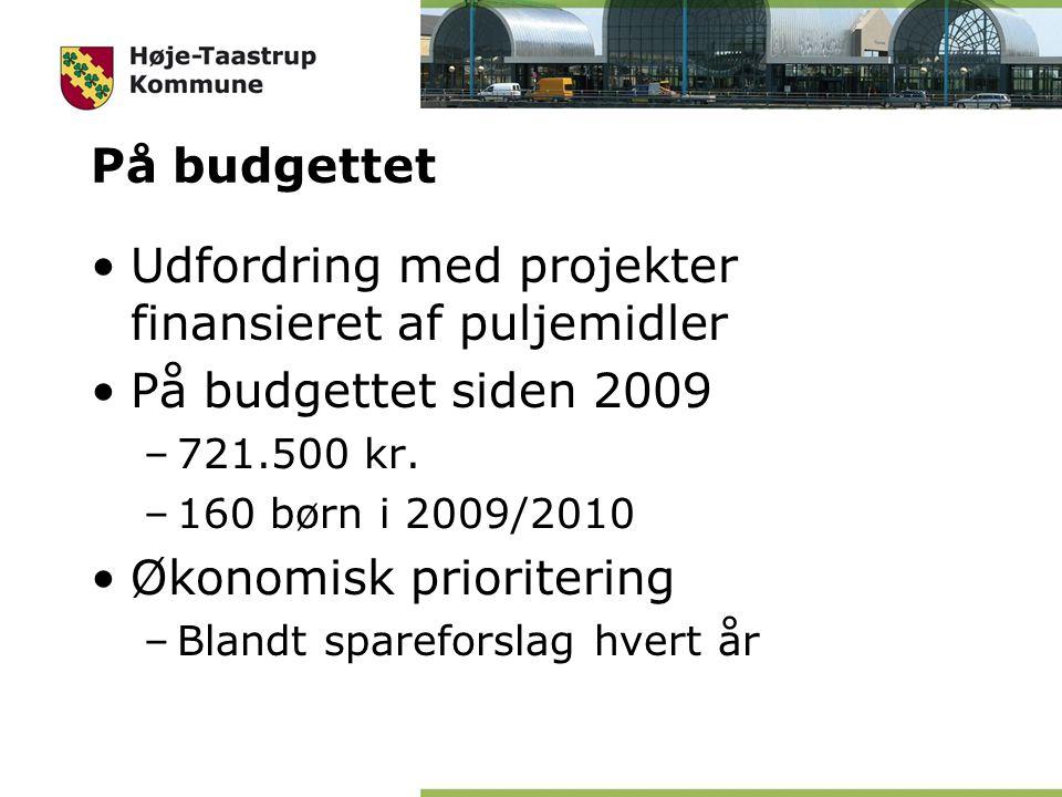 På budgettet Udfordring med projekter finansieret af puljemidler På budgettet siden 2009 –721.500 kr.