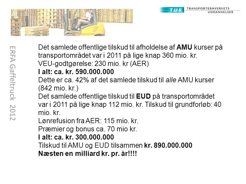 Det samlede offentlige tilskud til afholdelse af AMU kurser på transportområdet var i 2011 på lige knap 360 mio.