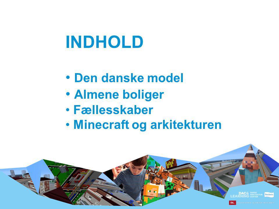 INDHOLD Den danske model Almene boliger Fællesskaber Minecraft og arkitekturen