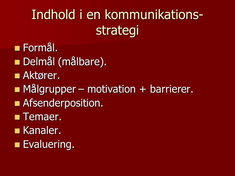 Indhold i en kommunikations- strategi Formål. Formål.