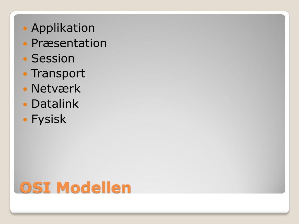 OSI Modellen Applikation Præsentation Session Transport Netværk Datalink Fysisk