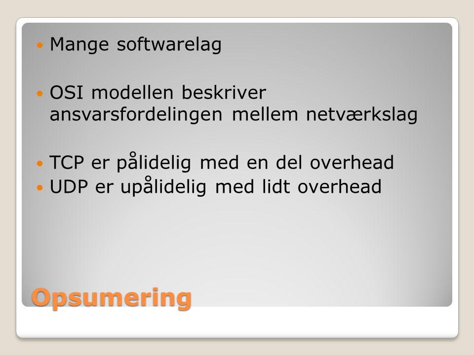 Opsumering Mange softwarelag OSI modellen beskriver ansvarsfordelingen mellem netværkslag TCP er pålidelig med en del overhead UDP er upålidelig med lidt overhead
