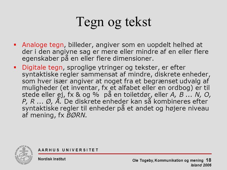 A A R H U S U N I V E R S I T E T Nordisk Institut Ole Togeby, Kommunikation og mening 18 Island 2006 Tegn og tekst  Analoge tegn, billeder, angiver som en uopdelt helhed at der i den angivne sag er mere eller mindre af en eller flere egenskaber på en eller flere dimensioner.
