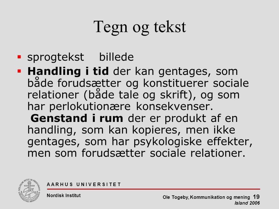 A A R H U S U N I V E R S I T E T Nordisk Institut Ole Togeby, Kommunikation og mening 19 Island 2006 Tegn og tekst  sprogtekstbillede  Handling i tid der kan gentages, som både forudsætter og konstituerer sociale relationer (både tale og skrift), og som har perlokutionære konsekvenser.