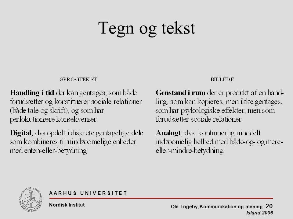 A A R H U S U N I V E R S I T E T Nordisk Institut Ole Togeby, Kommunikation og mening 20 Island 2006 Tegn og tekst