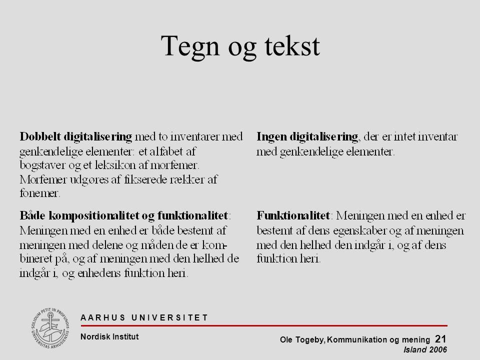 A A R H U S U N I V E R S I T E T Nordisk Institut Ole Togeby, Kommunikation og mening 21 Island 2006 Tegn og tekst