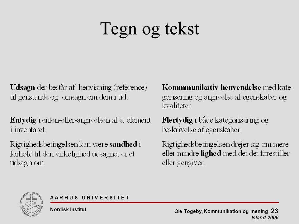 A A R H U S U N I V E R S I T E T Nordisk Institut Ole Togeby, Kommunikation og mening 23 Island 2006 Tegn og tekst