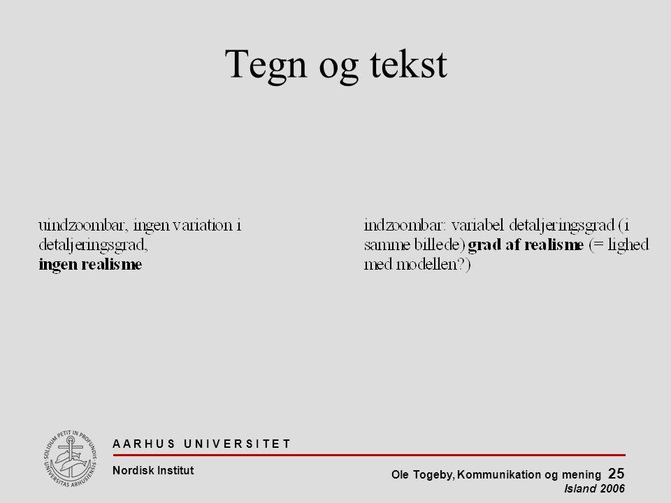 A A R H U S U N I V E R S I T E T Nordisk Institut Ole Togeby, Kommunikation og mening 25 Island 2006 Tegn og tekst