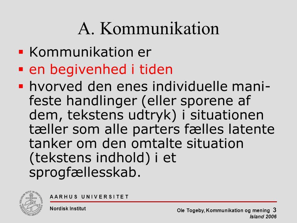 A A R H U S U N I V E R S I T E T Nordisk Institut Ole Togeby, Kommunikation og mening 3 Island 2006 A.
