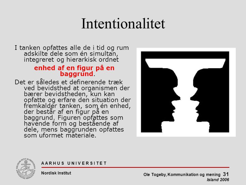 A A R H U S U N I V E R S I T E T Nordisk Institut Ole Togeby, Kommunikation og mening 31 Island 2006 Intentionalitet I tanken opfattes alle de i tid og rum adskilte dele som én simultan, integreret og hierarkisk ordnet enhed af en figur på en baggrund.