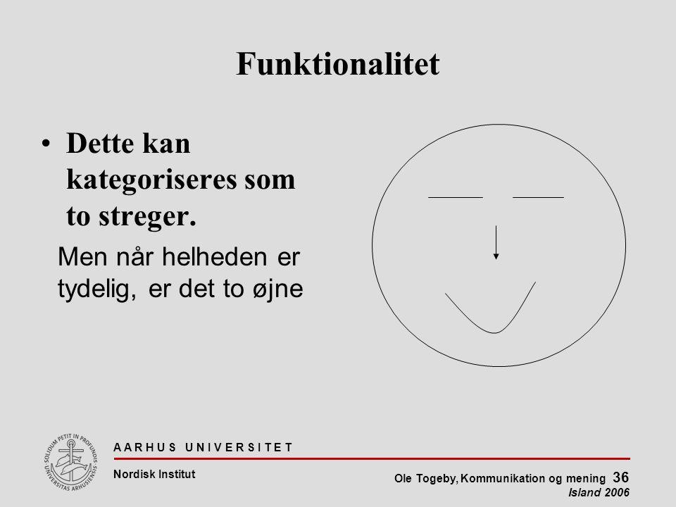 A A R H U S U N I V E R S I T E T Nordisk Institut Ole Togeby, Kommunikation og mening 36 Island 2006 Funktionalitet Dette kan kategoriseres som to streger.