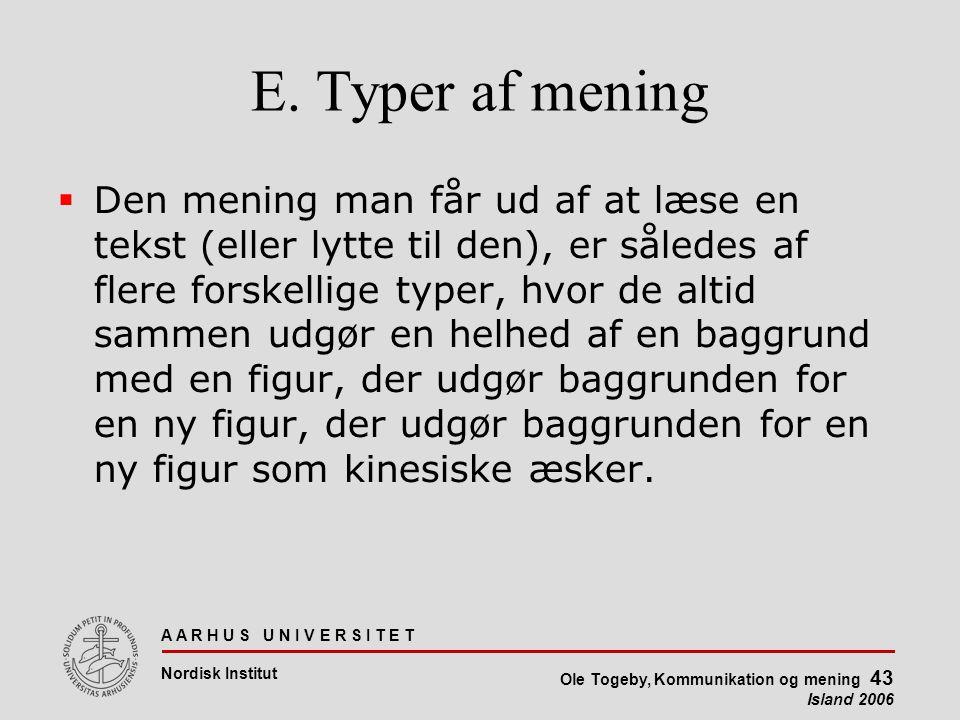 A A R H U S U N I V E R S I T E T Nordisk Institut Ole Togeby, Kommunikation og mening 43 Island 2006 E.