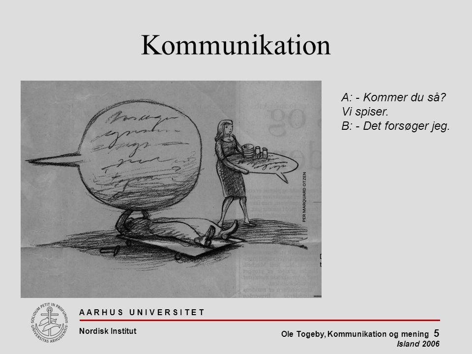 A A R H U S U N I V E R S I T E T Nordisk Institut Ole Togeby, Kommunikation og mening 5 Island 2006 Kommunikation A: - Kommer du så.