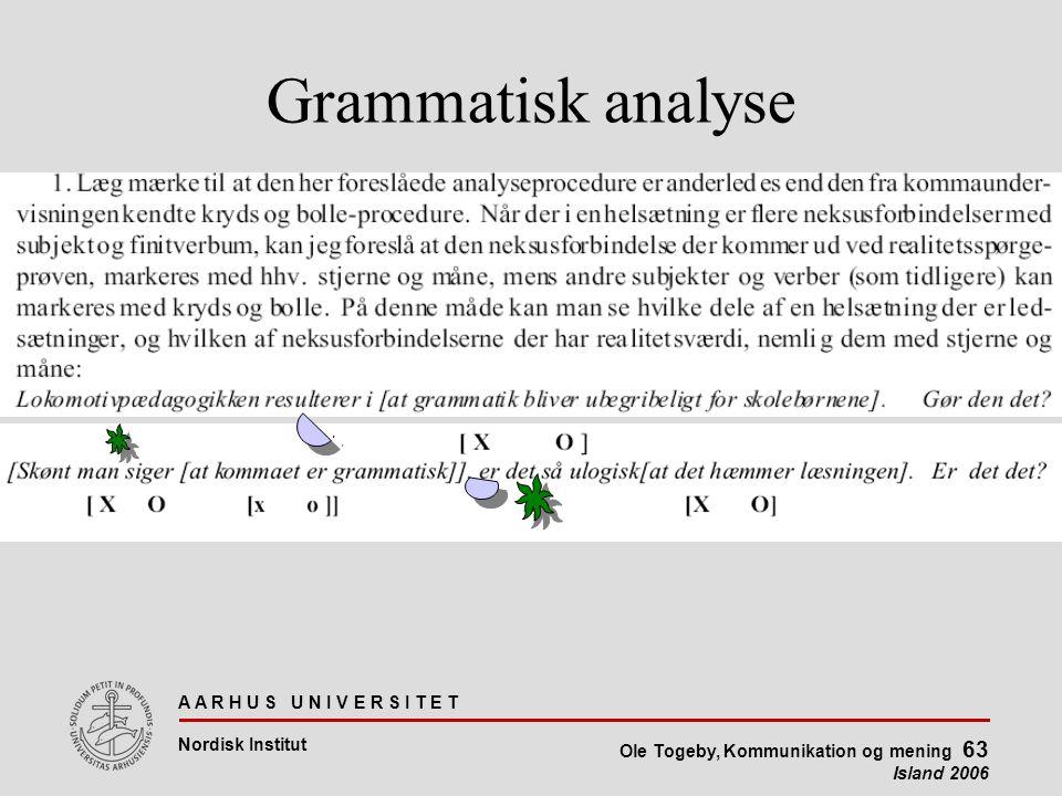 A A R H U S U N I V E R S I T E T Nordisk Institut Ole Togeby, Kommunikation og mening 63 Island 2006 Grammatisk analyse