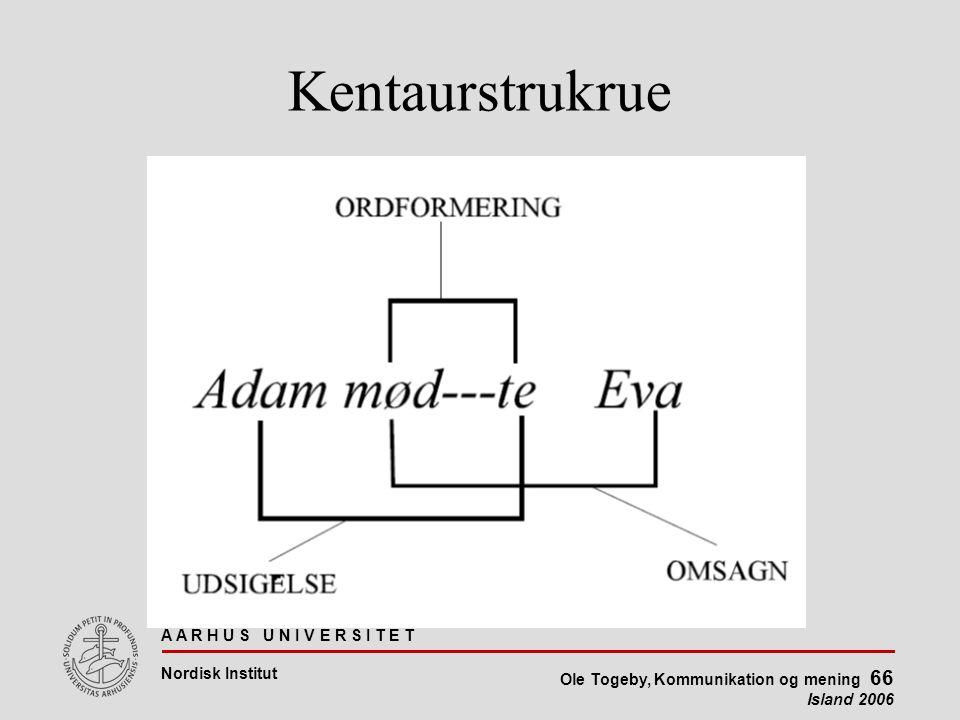 A A R H U S U N I V E R S I T E T Nordisk Institut Ole Togeby, Kommunikation og mening 66 Island 2006 Kentaurstrukrue