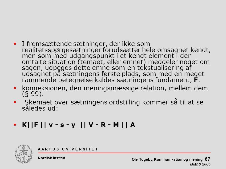 A A R H U S U N I V E R S I T E T Nordisk Institut Ole Togeby, Kommunikation og mening 67 Island 2006  I fremsættende sætninger, der ikke som realitetsspørgesætninger forudsætter hele omsagnet kendt, men som med udgangspunkt i et kendt element i den omtalte situation (temaet, eller emnet) meddeler noget om sagen, udpeges dette emne som en tekstualisering af udsagnet på sætningens første plads, som med en meget rammende betegnelse kaldes sætningens fundament, F.