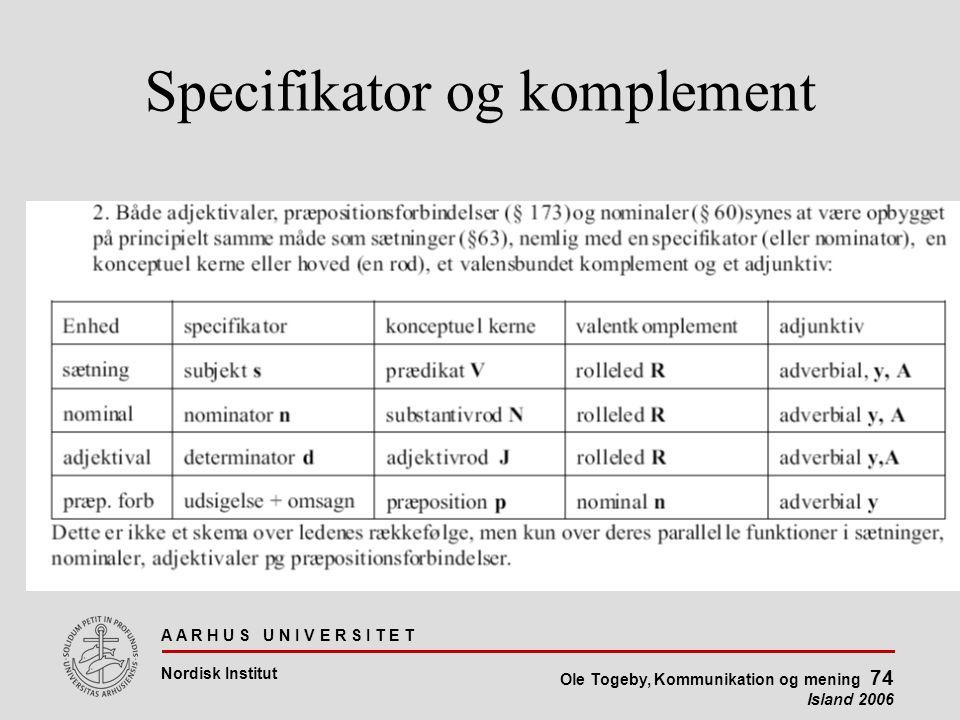 A A R H U S U N I V E R S I T E T Nordisk Institut Ole Togeby, Kommunikation og mening 74 Island 2006 Specifikator og komplement