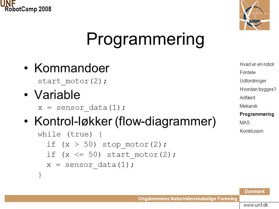 Danmark Ungdommens Naturvidenskabelige Forening UNF RobotCamp 2008 www.unf.dk Programmering Flow- diagrammer Hvad er en robot Fordele Udfordringer Hvordan bygges.
