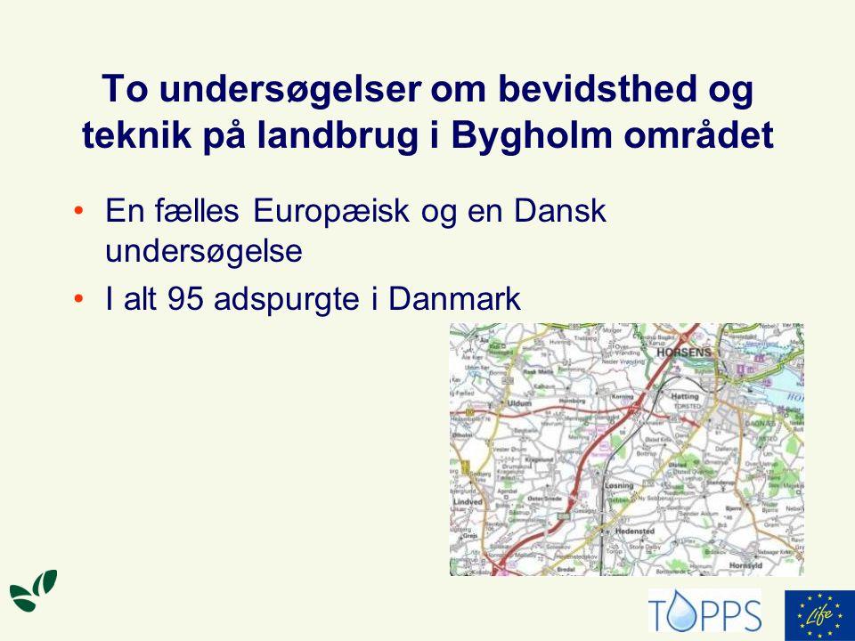 To undersøgelser om bevidsthed og teknik på landbrug i Bygholm området En fælles Europæisk og en Dansk undersøgelse I alt 95 adspurgte i Danmark