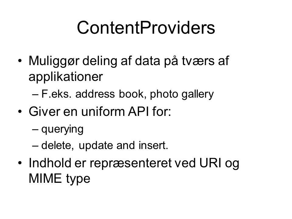 ContentProviders Muliggør deling af data på tværs af applikationer –F.eks.