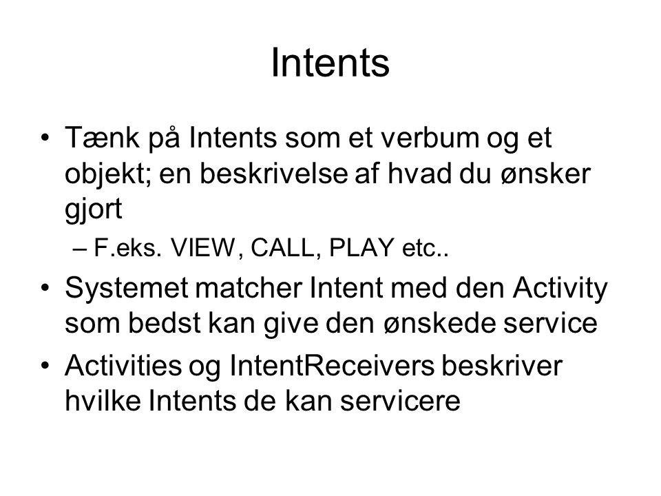 Intents Tænk på Intents som et verbum og et objekt; en beskrivelse af hvad du ønsker gjort –F.eks.