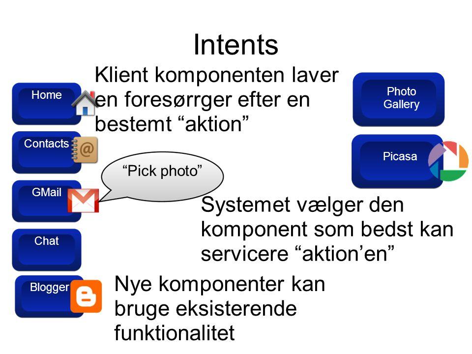 Intents GMail Contacts Home Blogger Chat Klient komponenten laver en foresørrger efter en bestemt aktion Pick photo Picasa Systemet vælger den komponent som bedst kan servicere aktion'en Nye komponenter kan bruge eksisterende funktionalitet Blogger Photo Gallery
