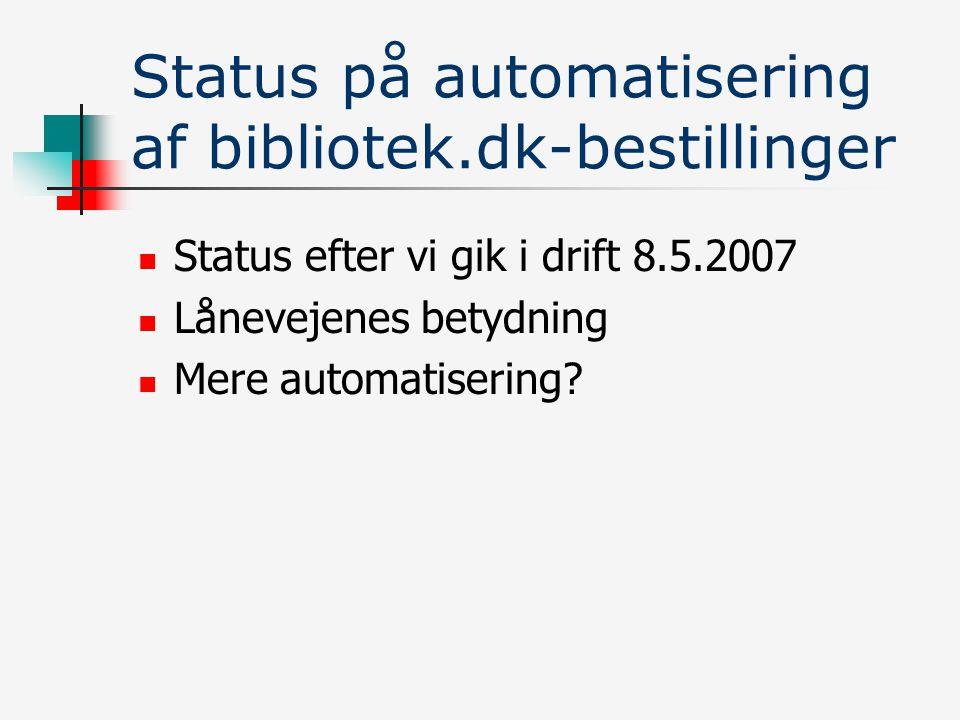 Status på automatisering af bibliotek.dk-bestillinger Status efter vi gik i drift 8.5.2007 Lånevejenes betydning Mere automatisering
