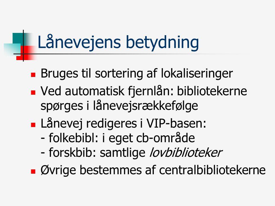 Lånevejens betydning Bruges til sortering af lokaliseringer Ved automatisk fjernlån: bibliotekerne spørges i lånevejsrækkefølge Lånevej redigeres i VIP-basen: - folkebibl: i eget cb-område - forskbib: samtlige lovbiblioteker Øvrige bestemmes af centralbibliotekerne