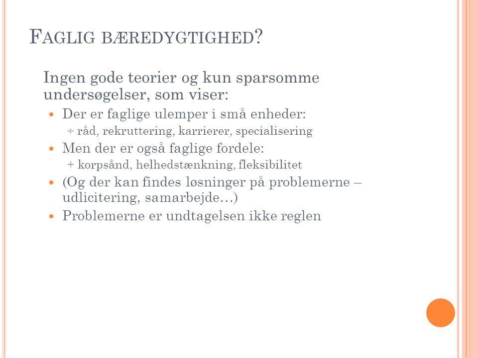 F AGLIG BÆREDYGTIGHED .