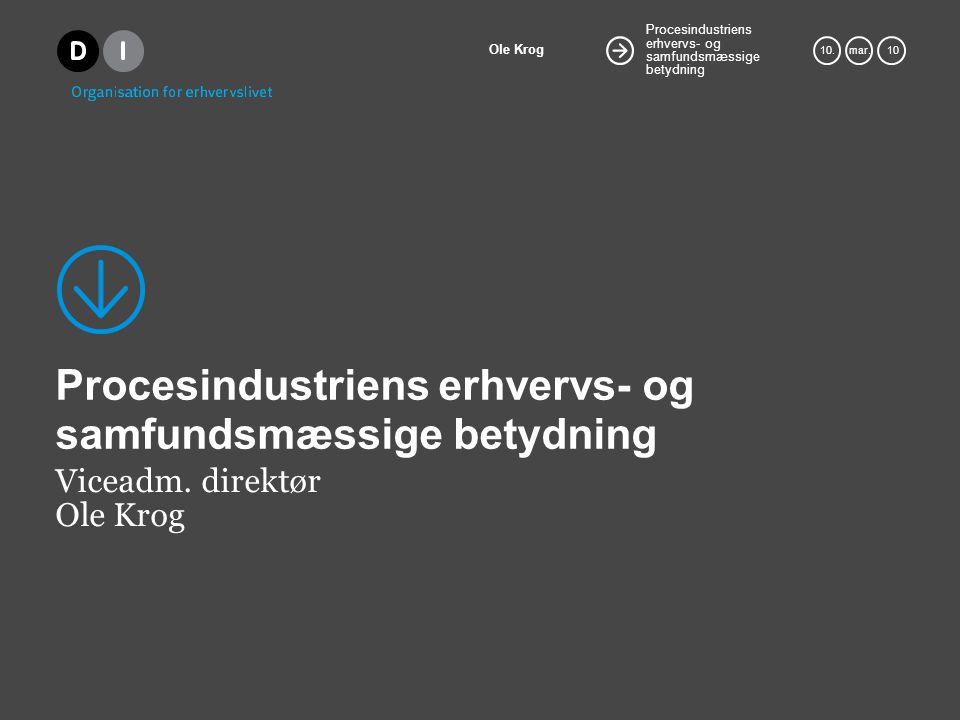 Procesindustriens erhvervs- og samfundsmæssige betydning Ole Krog 10.mar.