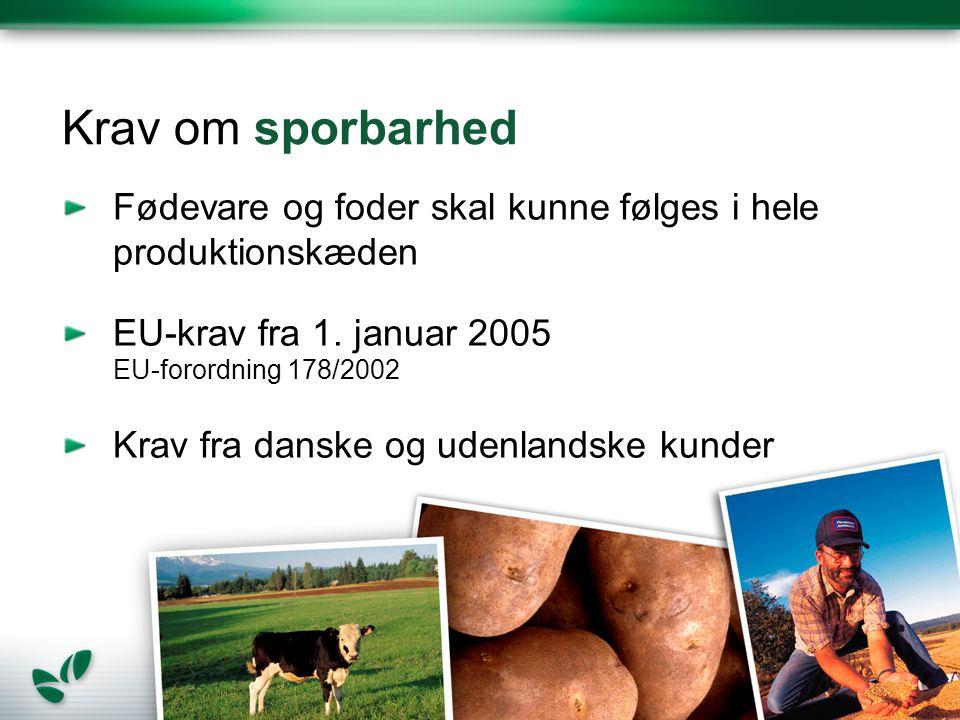 Krav om sporbarhed Fødevare og foder skal kunne følges i hele produktionskæden EU-krav fra 1.