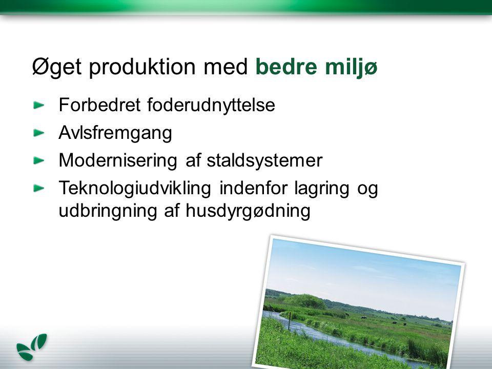 Øget produktion med bedre miljø Forbedret foderudnyttelse Avlsfremgang Modernisering af staldsystemer Teknologiudvikling indenfor lagring og udbringning af husdyrgødning