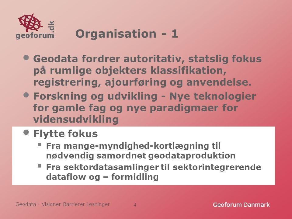 Geodata - Visioner Barrierer Løsninger Geoforum Danmark4 Organisation - 1 Geodata fordrer autoritativ, statslig fokus på rumlige objekters klassifikation, registrering, ajourføring og anvendelse.