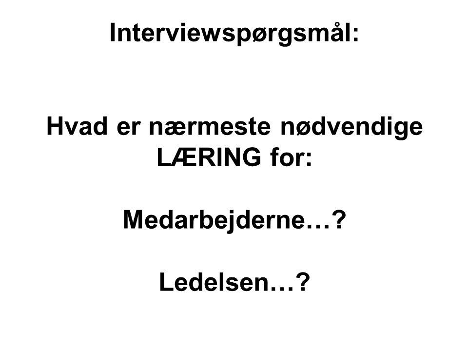 Interviewspørgsmål: Hvad er nærmeste nødvendige LÆRING for: Medarbejderne… Ledelsen…