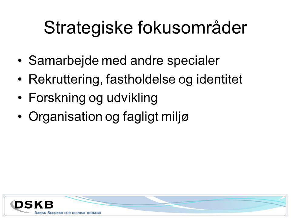 Strategiske fokusområder Samarbejde med andre specialer Rekruttering, fastholdelse og identitet Forskning og udvikling Organisation og fagligt miljø