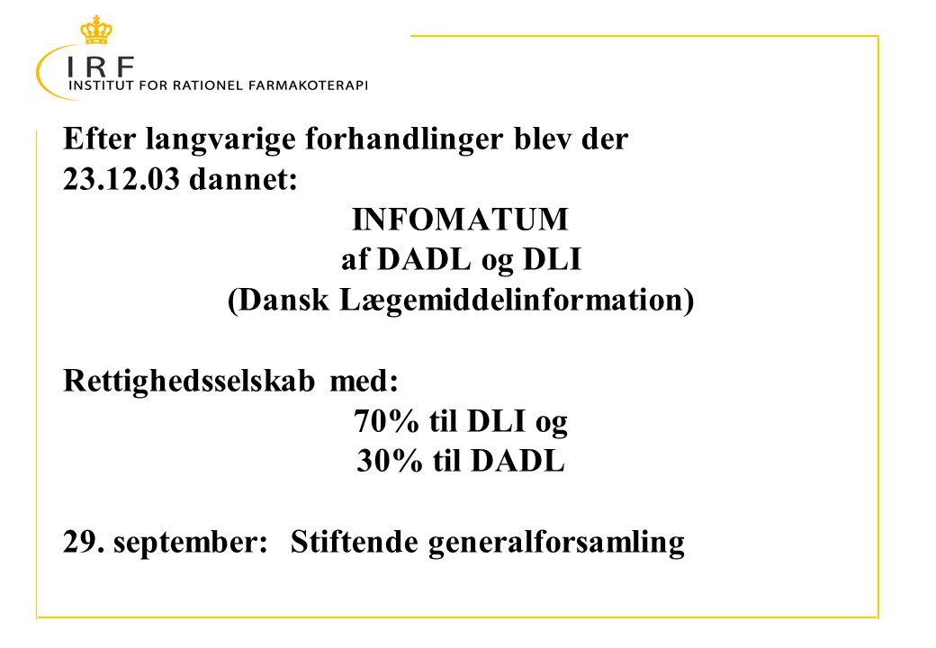Efter langvarige forhandlinger blev der 23.12.03 dannet: INFOMATUM af DADL og DLI (Dansk Lægemiddelinformation) Rettighedsselskab med: 70% til DLI og 30% til DADL 29.