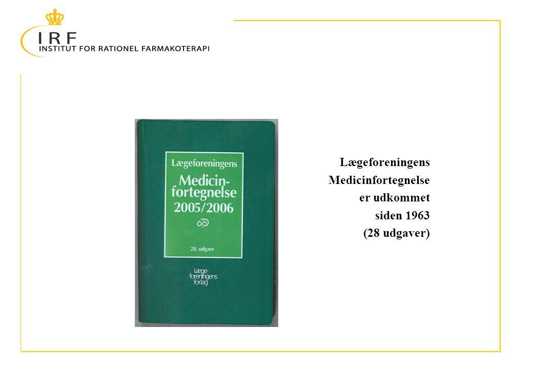 Lægeforeningens Medicinfortegnelse er udkommet siden 1963 (28 udgaver)