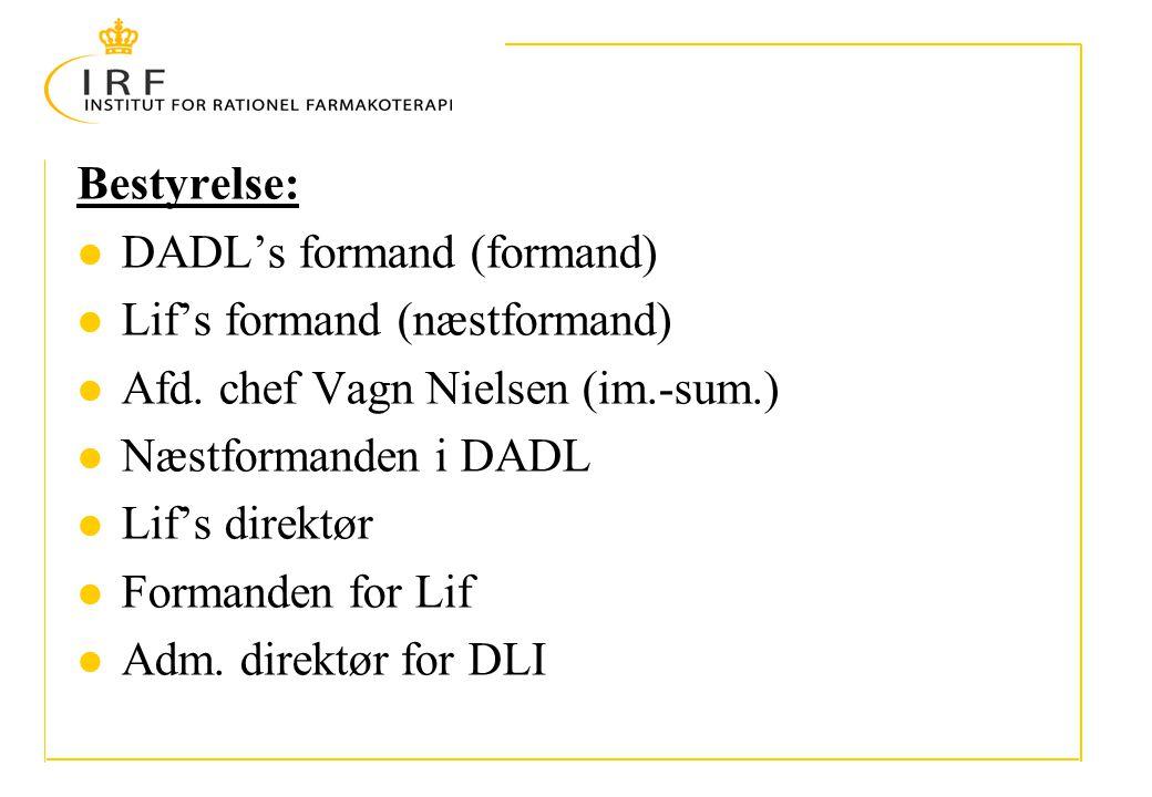 Bestyrelse: DADL's formand (formand) Lif's formand (næstformand) Afd.