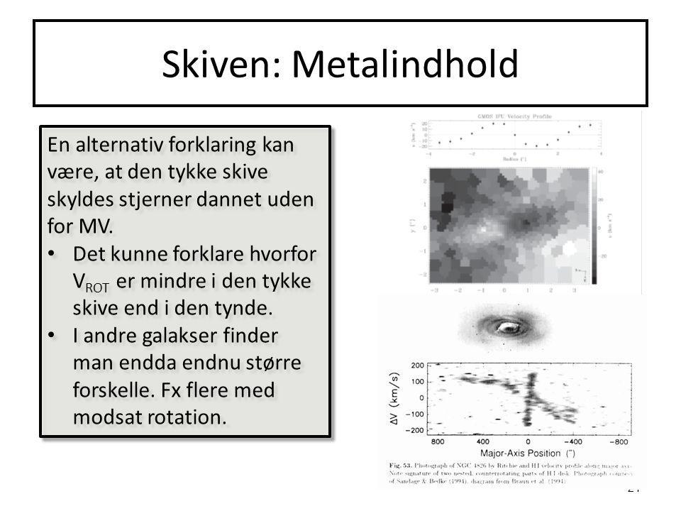 Skiven: Metalindhold En alternativ forklaring kan være, at den tykke skive skyldes stjerner dannet uden for MV.