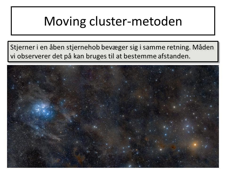 Moving cluster-metoden Stjerner i en åben stjernehob bevæger sig i samme retning.