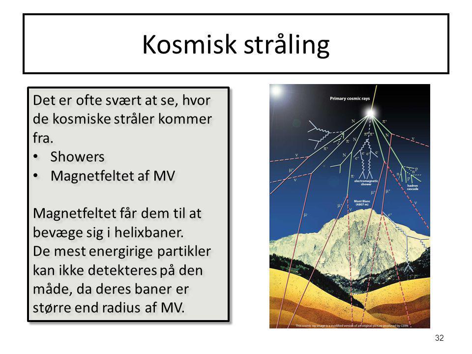 Kosmisk stråling Det er ofte svært at se, hvor de kosmiske stråler kommer fra.