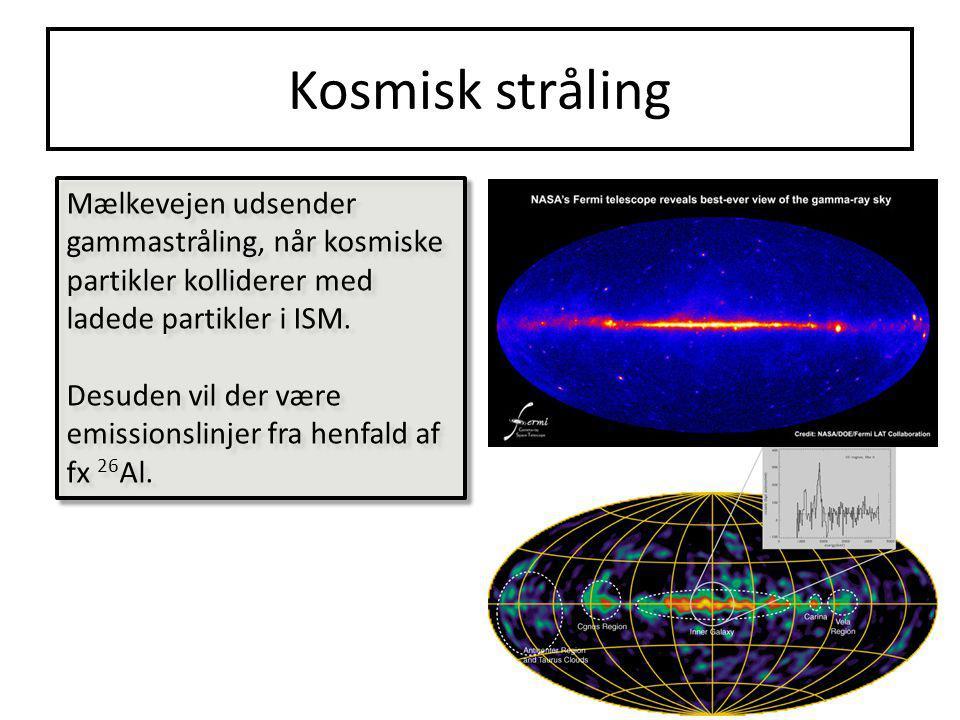 Kosmisk stråling Mælkevejen udsender gammastråling, når kosmiske partikler kolliderer med ladede partikler i ISM.