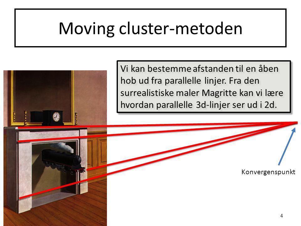 Moving cluster-metoden Vi kan bestemme afstanden til en åben hob ud fra parallelle linjer.
