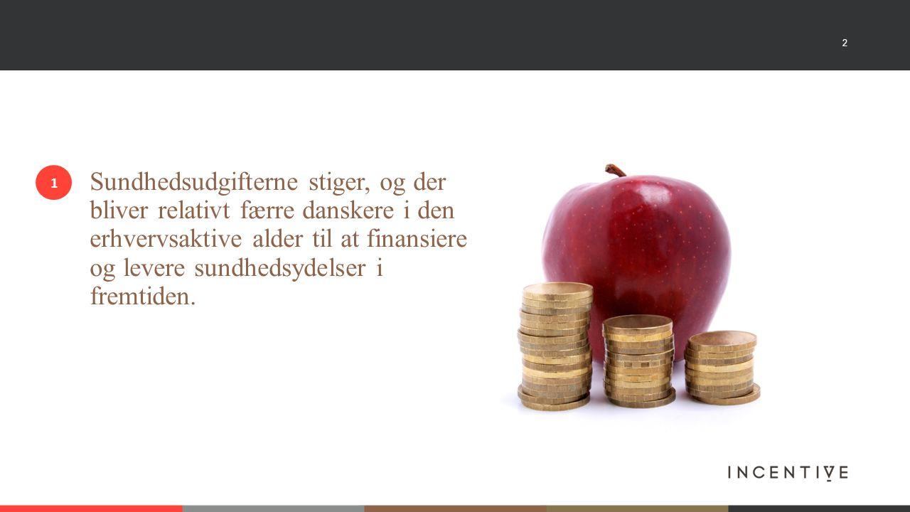 2 Sundhedsudgifterne stiger, og der bliver relativt færre danskere i den erhvervsaktive alder til at finansiere og levere sundhedsydelser i fremtiden.