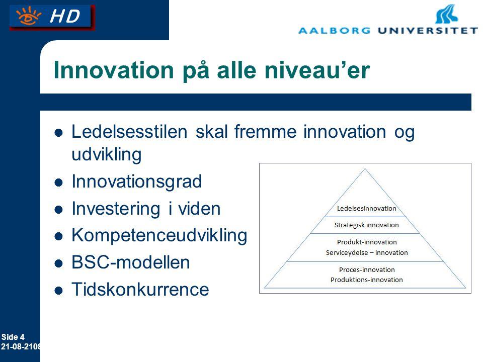 Side 4 21-08-2108 Innovation på alle niveau'er Ledelsesstilen skal fremme innovation og udvikling Innovationsgrad Investering i viden Kompetenceudvikling BSC-modellen Tidskonkurrence