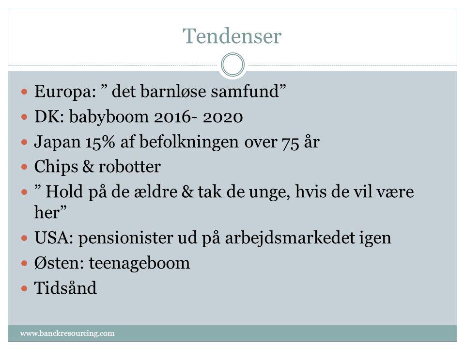 Tendenser Europa: det barnløse samfund DK: babyboom 2016- 2020 Japan 15% af befolkningen over 75 år Chips & robotter Hold på de ældre & tak de unge, hvis de vil være her USA: pensionister ud på arbejdsmarkedet igen Østen: teenageboom Tidsånd www.banckresourcing.com