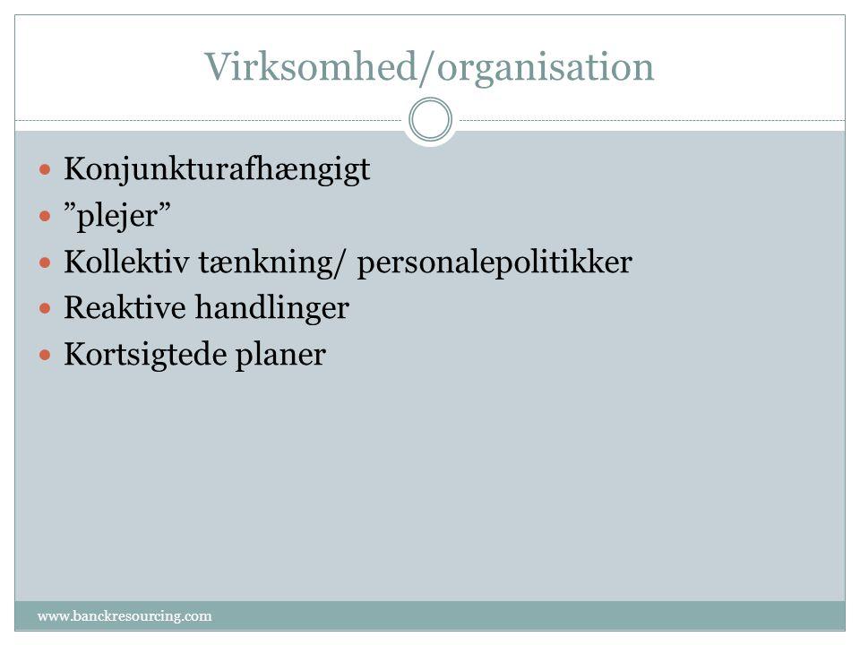 Virksomhed/organisation www.banckresourcing.com Konjunkturafhængigt plejer Kollektiv tænkning/ personalepolitikker Reaktive handlinger Kortsigtede planer