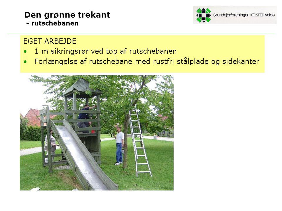 Den grønne trekant - rutschebanen EGET ARBEJDE 1 m sikringsrør ved top af rutschebanen Forlængelse af rutschebane med rustfri stålplade og sidekanter
