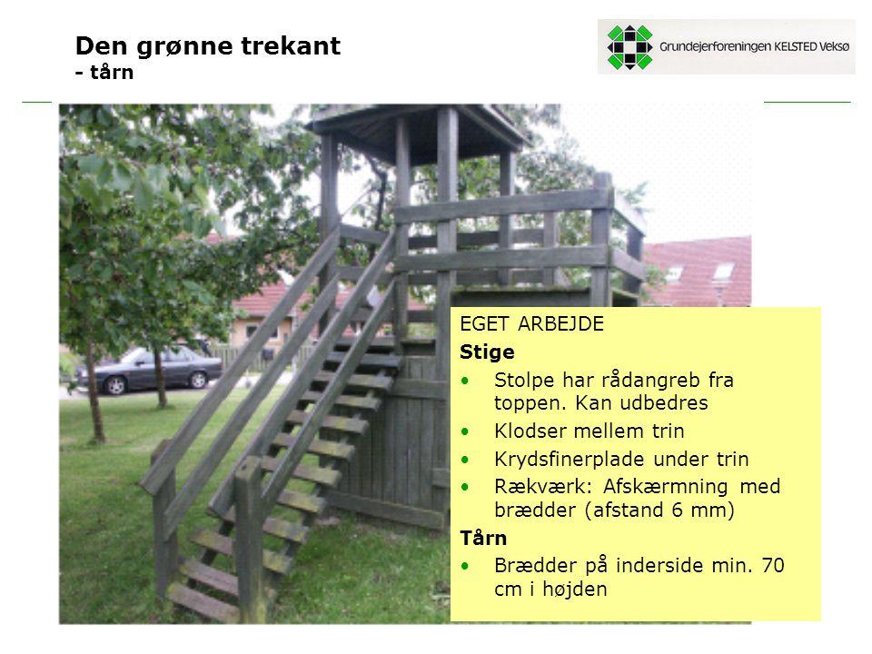 Den grønne trekant - tårn EGET ARBEJDE Stige Stolpe har rådangreb fra toppen.